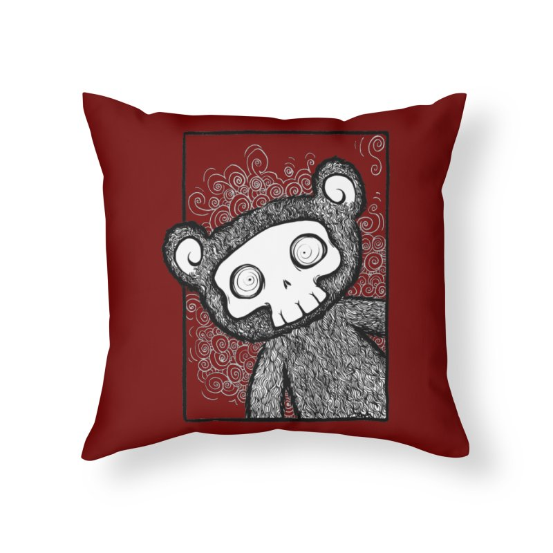 Skully Bear Gray Scale Home Throw Pillow by SkullyFlower's Sweetly Creepy Tees