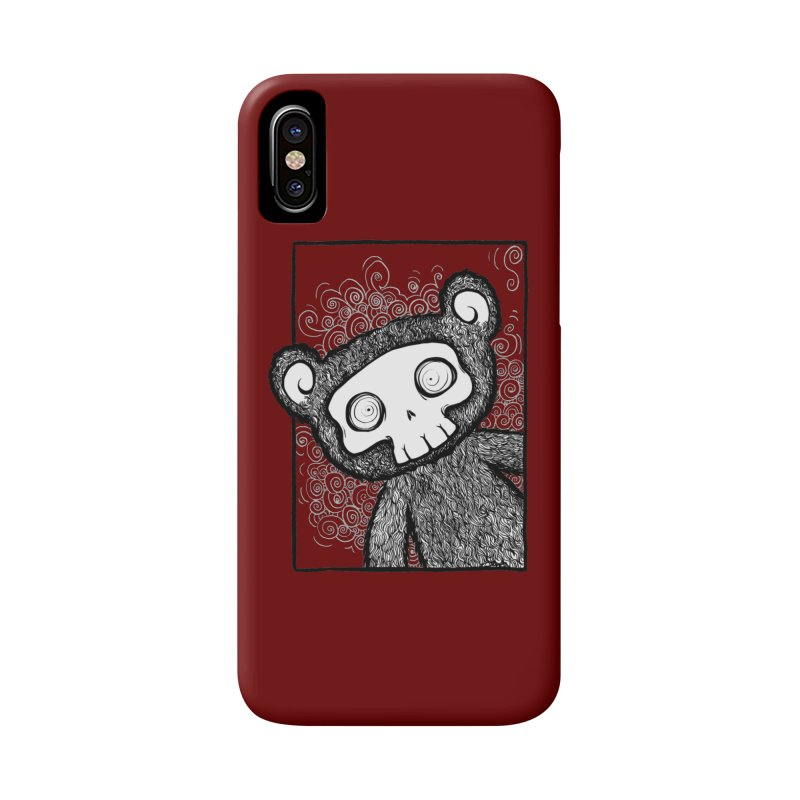 Skully Bear Gray Scale Accessories Phone Case by SkullyFlower's Sweetly Creepy Tees