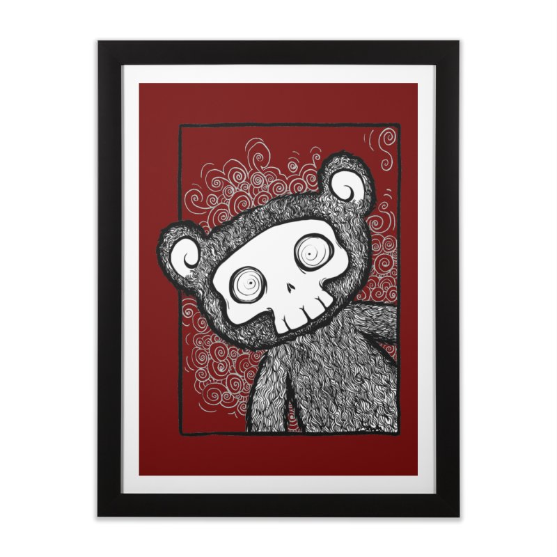 Skully Bear Gray Scale Home Framed Fine Art Print by SkullyFlower's Sweetly Creepy Tees