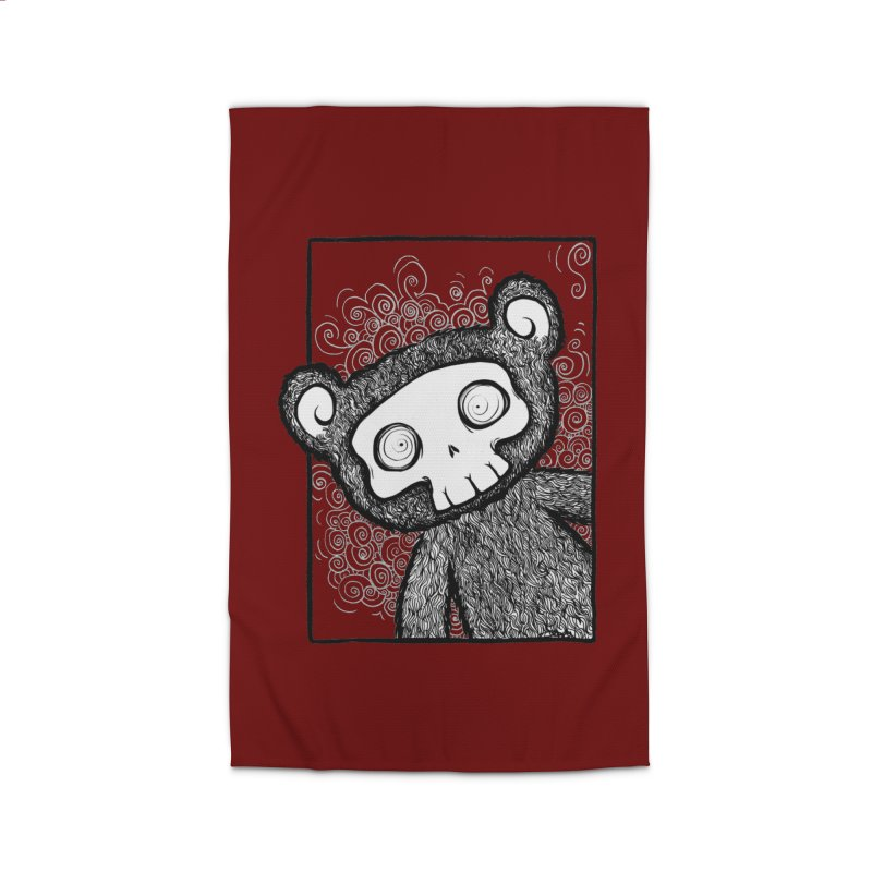 Skully Bear Gray Scale Home Rug by SkullyFlower's Sweetly Creepy Tees