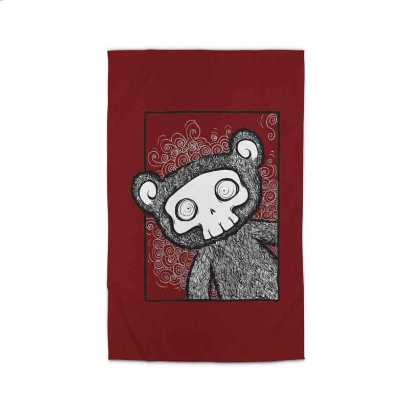 Skully Bear Gray Scale Home Rug by SkullyFlower's Sweetly Creepy Tees