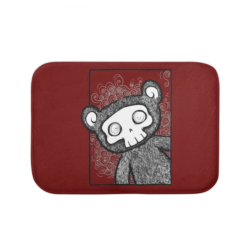 Skully Bear Gray Scale Home Bath Mat by SkullyFlower's Sweetly Creepy Tees