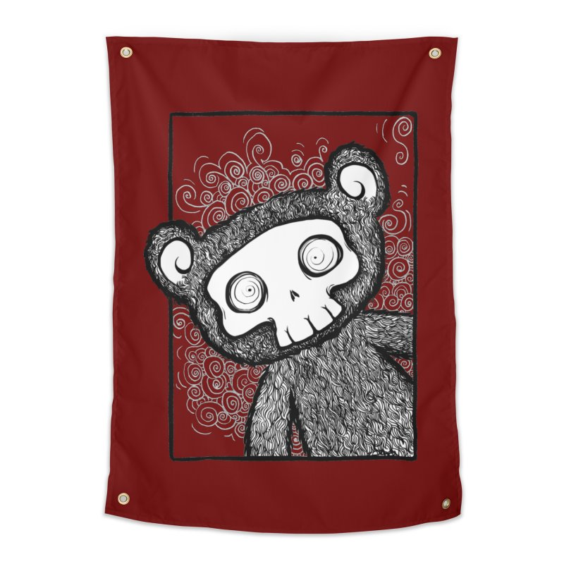Skully Bear Gray Scale Home Tapestry by SkullyFlower's Sweetly Creepy Tees