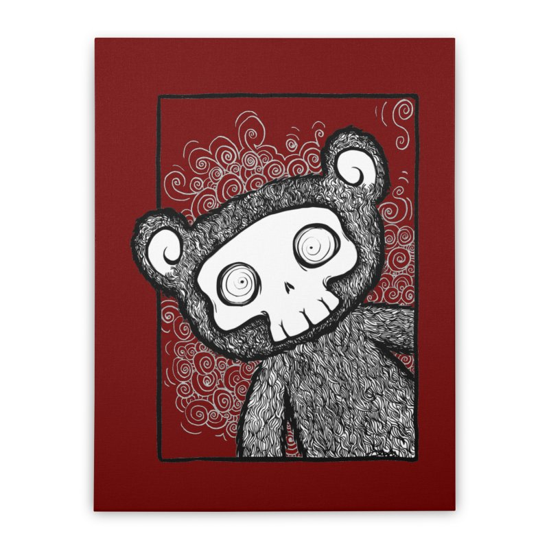 Skully Bear Gray Scale Home Stretched Canvas by SkullyFlower's Sweetly Creepy Tees