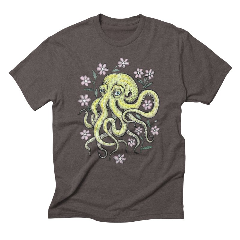 OctoFlowerPuss Men's Triblend T-Shirt by SkullyFlower's Sweetly Creepy Tees