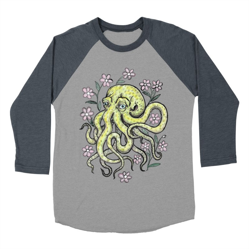 OctoFlowerPuss Men's Baseball Triblend Longsleeve T-Shirt by SkullyFlower's Sweetly Creepy Tees