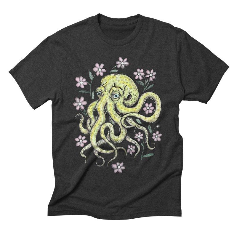OctoFlowerPuss Men's Triblend T-shirt by SkullyFlower's Sweetly Creepy Tees