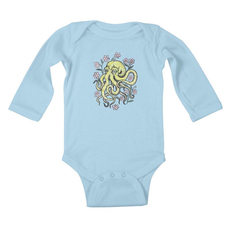 OctoFlowerPuss Kids Baby Longsleeve Bodysuit by SkullyFlower's Sweetly Creepy Tees