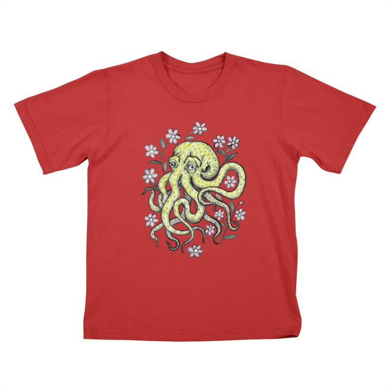 OctoFlowerPuss Kids T-Shirt by SkullyFlower's Sweetly Creepy Tees