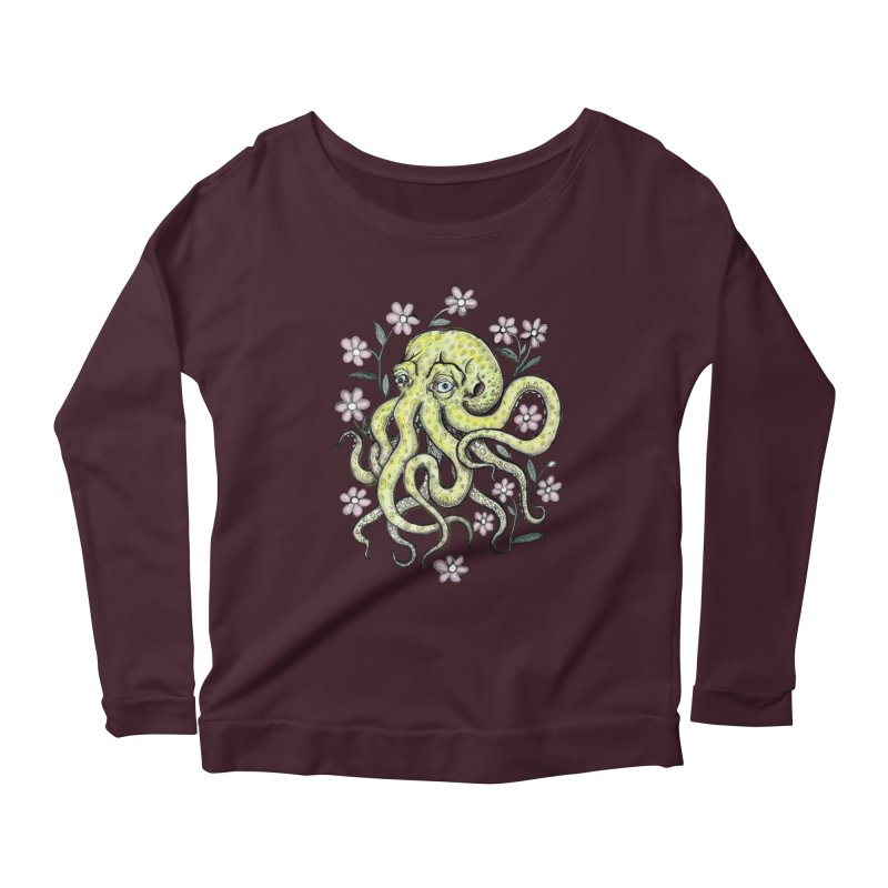 OctoFlowerPuss Women's Scoop Neck Longsleeve T-Shirt by SkullyFlower's Sweetly Creepy Tees
