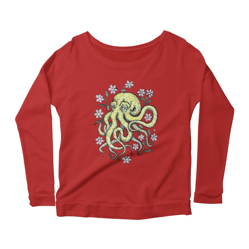 OctoFlowerPuss Women's Longsleeve Scoopneck  by SkullyFlower's Sweetly Creepy Tees