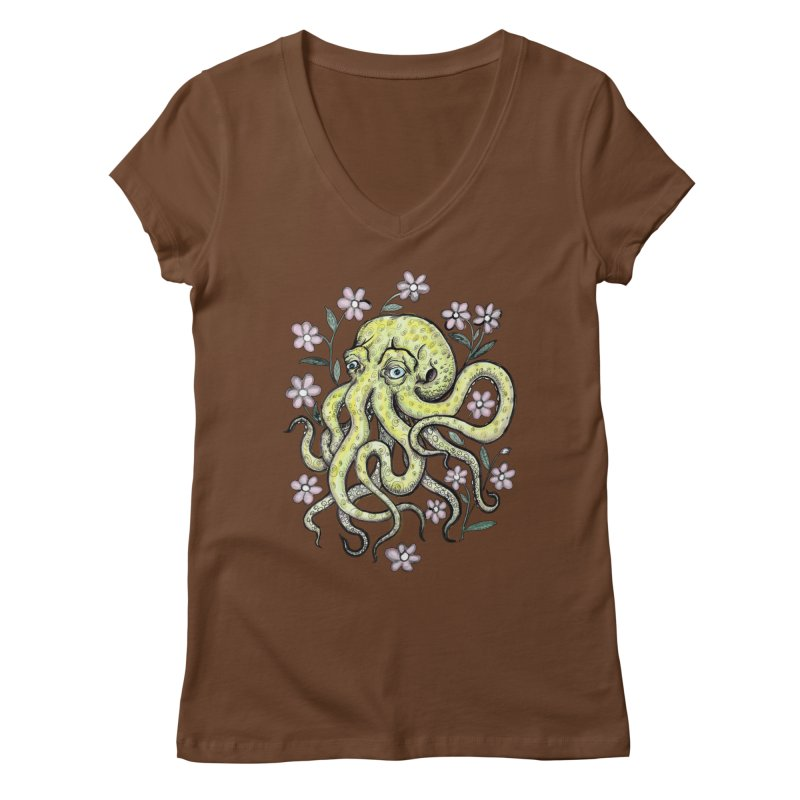 OctoFlowerPuss Women's Regular V-Neck by SkullyFlower's Sweetly Creepy Tees