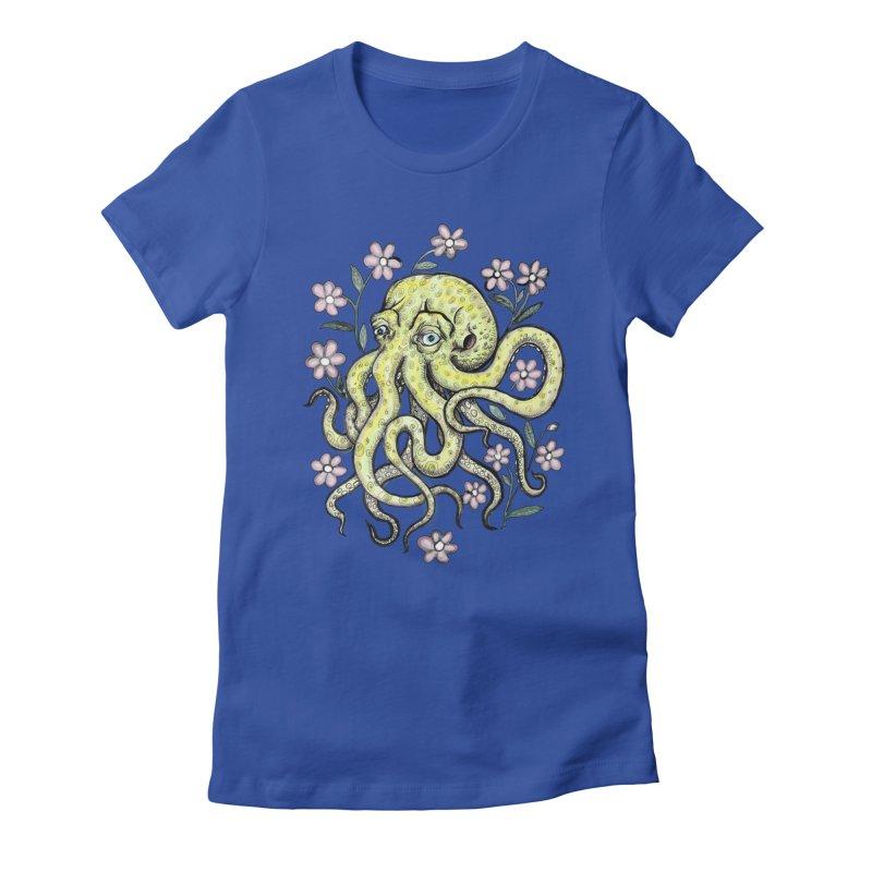 OctoFlowerPuss Women's Fitted T-Shirt by SkullyFlower's Sweetly Creepy Tees