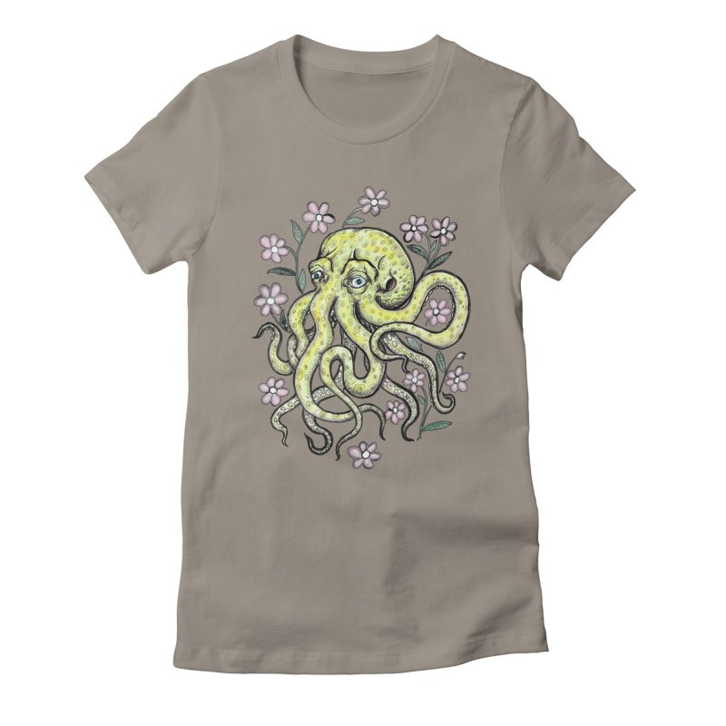 OctoFlowerPuss Women's Fitted T-Shirt by SkullyFlower's Sweetly Creepy Tees