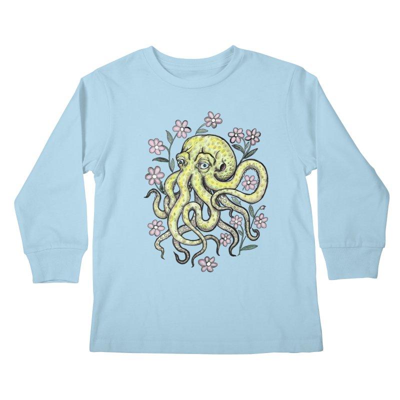 OctoFlowerPuss Kids Longsleeve T-Shirt by SkullyFlower's Sweetly Creepy Tees