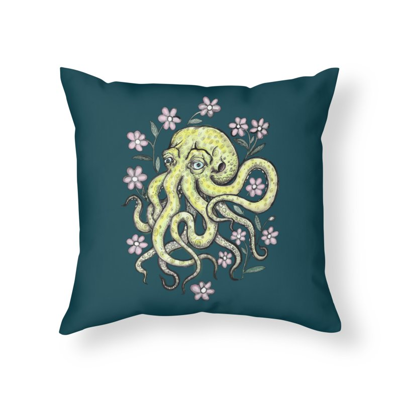 OctoFlowerPuss Home Throw Pillow by SkullyFlower's Sweetly Creepy Tees