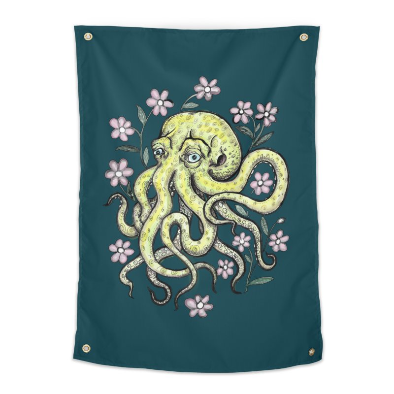 OctoFlowerPuss Home Tapestry by SkullyFlower's Sweetly Creepy Tees