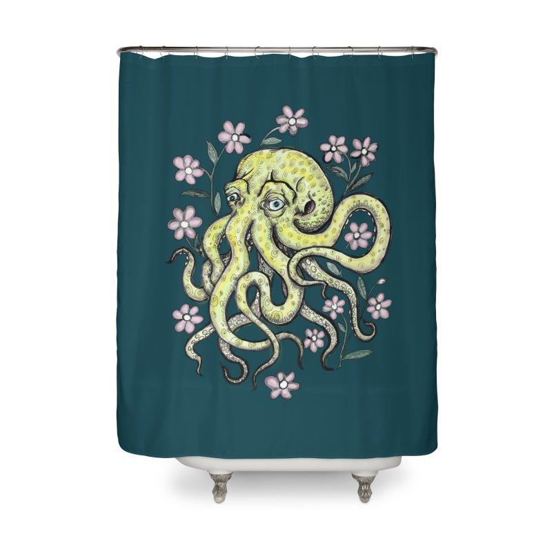 OctoFlowerPuss Home Shower Curtain by SkullyFlower's Sweetly Creepy Tees
