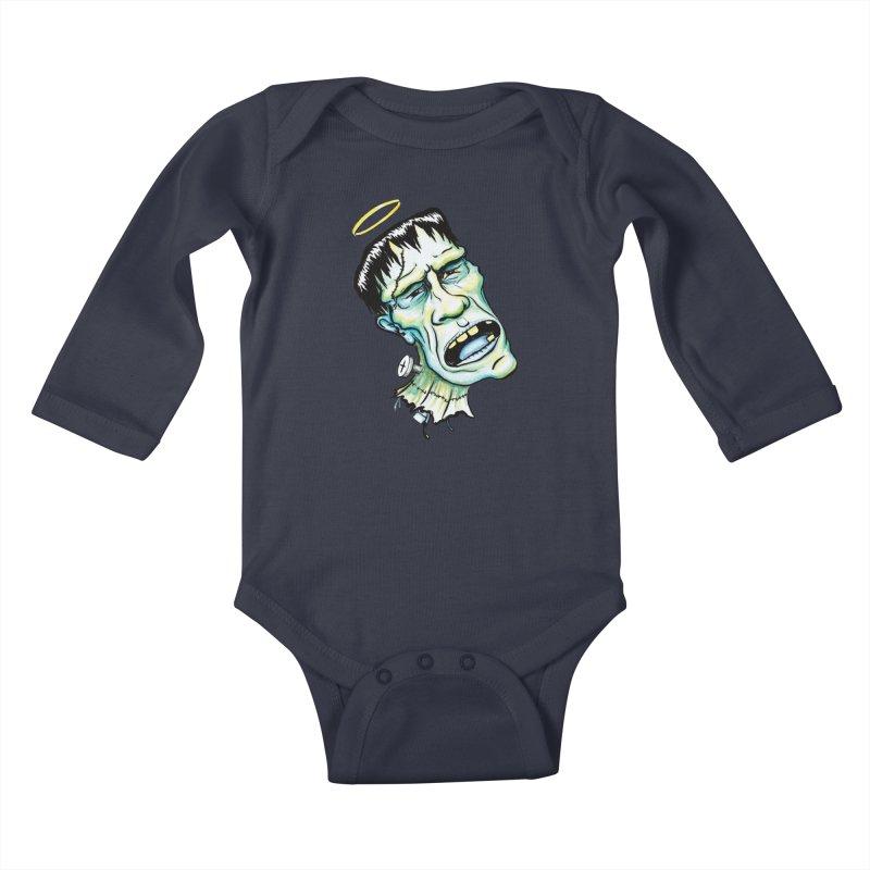 Saint Frank Kids Baby Longsleeve Bodysuit by SkullyFlower's Sweetly Creepy Tees
