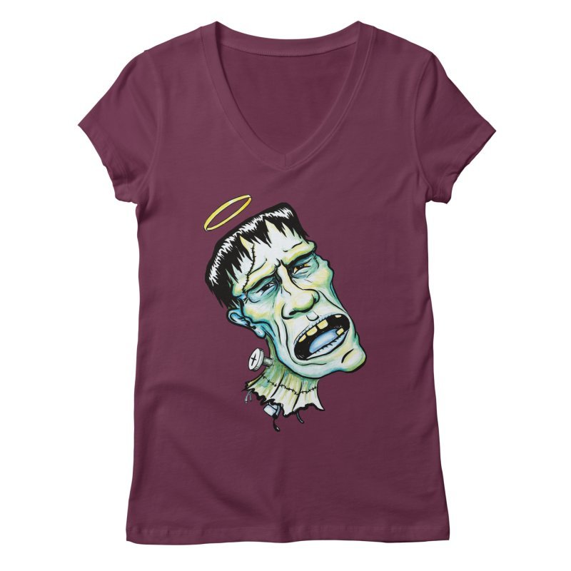 Saint Frank Women's Regular V-Neck by SkullyFlower's Sweetly Creepy Tees