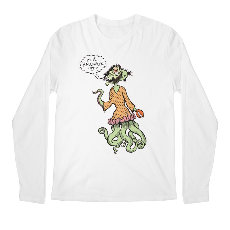 Is It Halloween Yet? Men's Longsleeve T-Shirt by SkullyFlower's Sweetly Creepy Tees