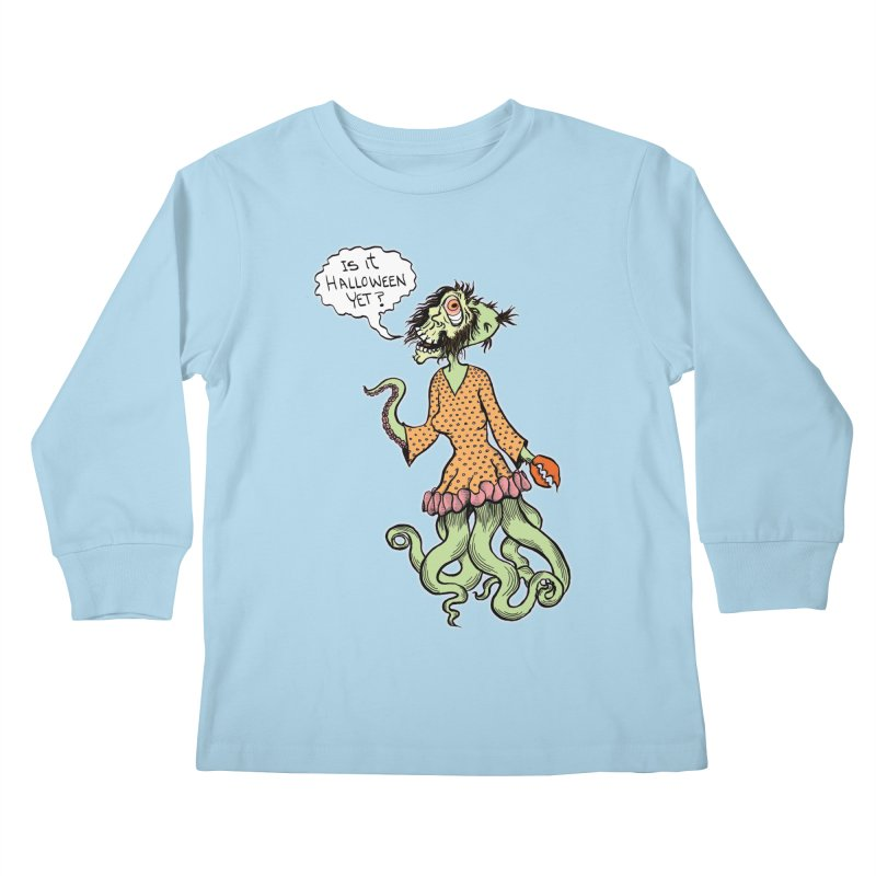 Is It Halloween Yet? Kids Longsleeve T-Shirt by SkullyFlower's Sweetly Creepy Tees