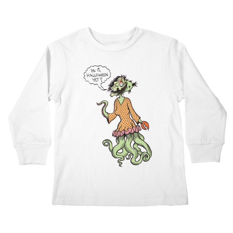 Is It Halloween Yet? Kids Longsleeve T-Shirt by SkullyFlower's Sweetly Creepy Tees