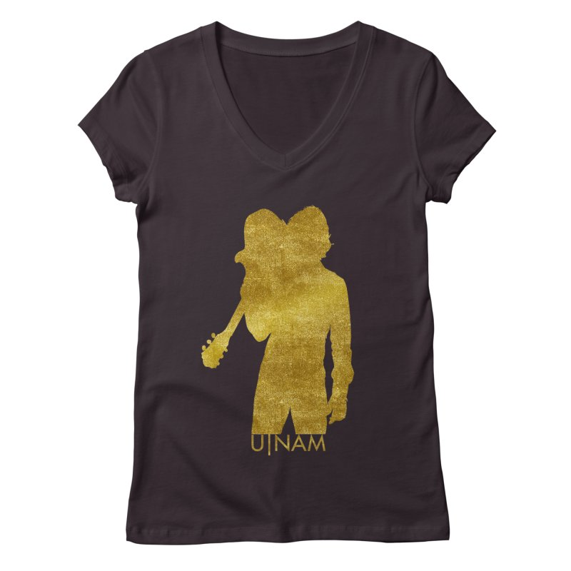 U-Nam - Guitar Gold Collection Women's Regular V-Neck by Skytown Records Official Merch Store