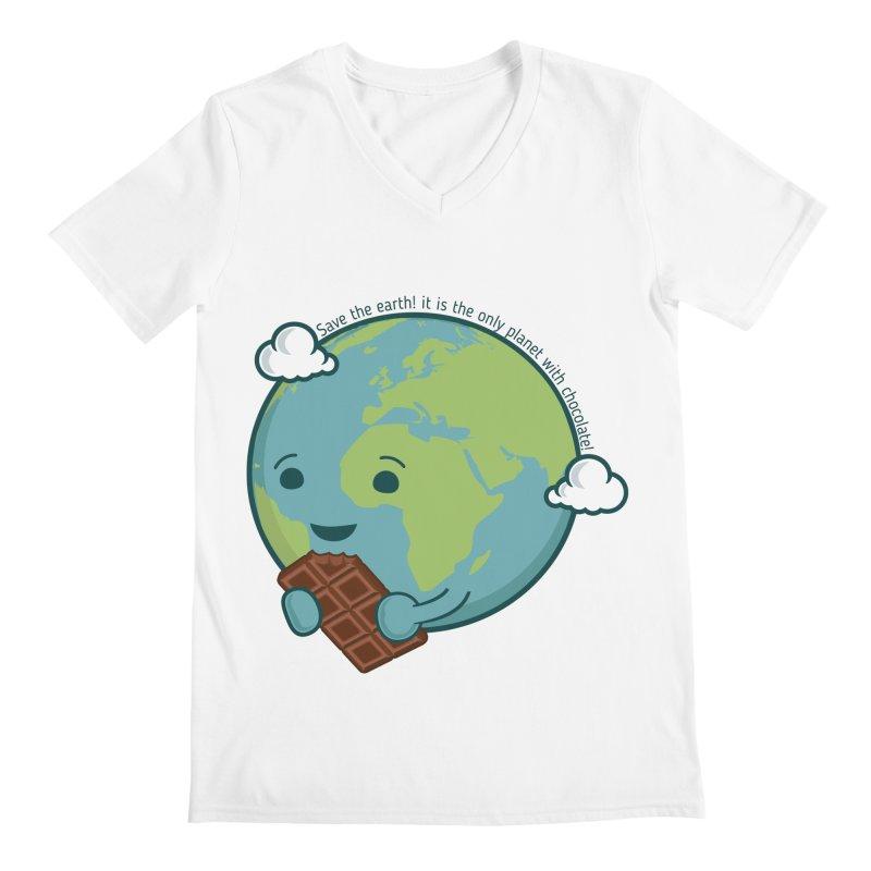 Save The Earth Men's Regular V-Neck by slamhm's Artist Shop