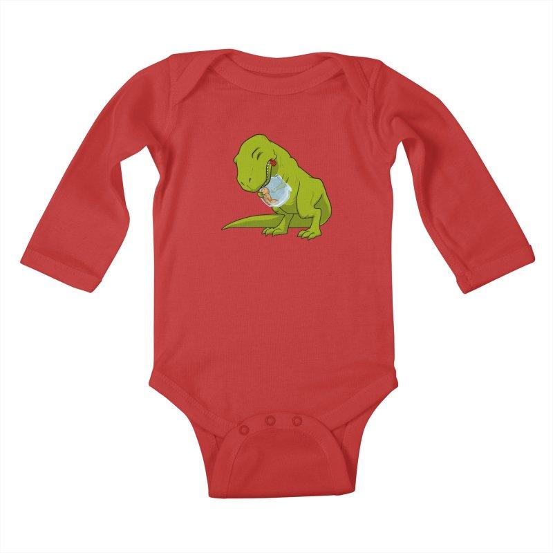 T-Rex and Cookies Jar Kids Baby Longsleeve Bodysuit by slamhm's Artist Shop