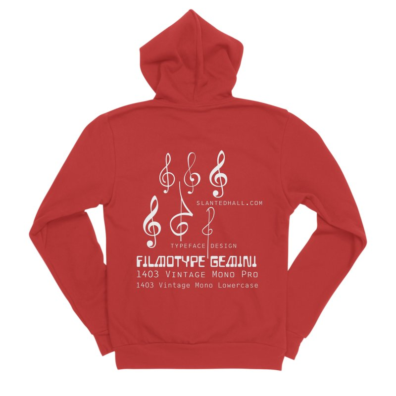 Treble Clef+1403+Gemini Zip-up Hoodie Women's Zip-Up Hoody by Slanted Hall Typefaces and Music Notation Fonts