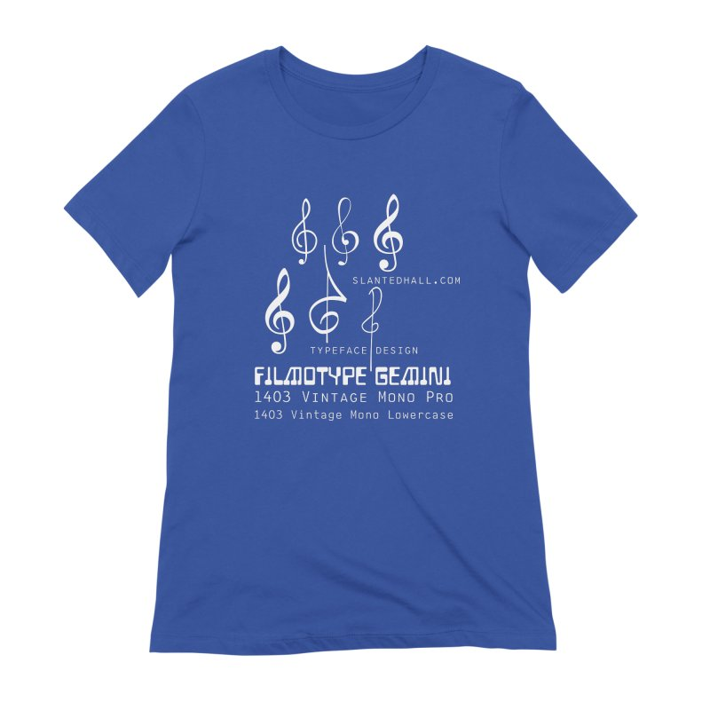 Treble Clefs + 1403 + Gemini fonts Women's T-Shirt by Slanted Hall Typefaces and Music Notation Fonts