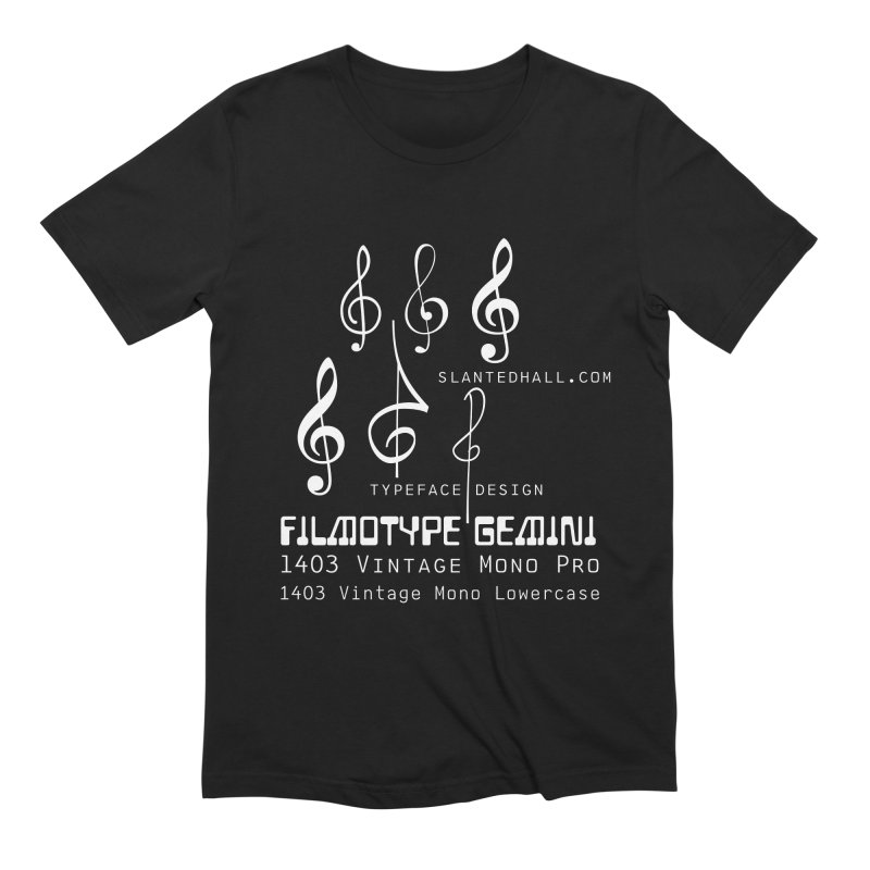 Treble Clefs + 1403 + Gemini fonts Men's T-Shirt by Slanted Hall Typefaces and Music Notation Fonts