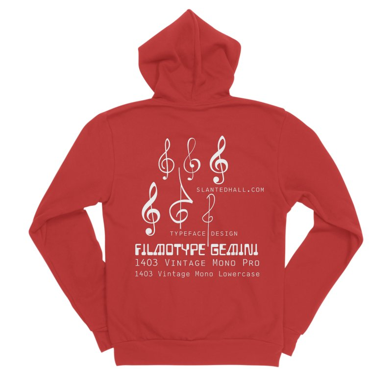 Treble Clefs + 1403 + Gemini fonts Men's Zip-Up Hoody by Slanted Hall Typefaces and Music Notation Fonts