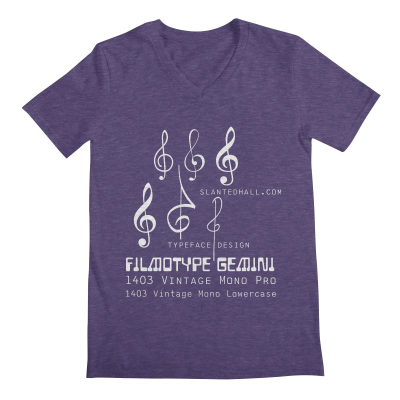 Treble Clefs + 1403 + Gemini fonts Men's V-Neck by Slanted Hall Typefaces and Music Notation Fonts