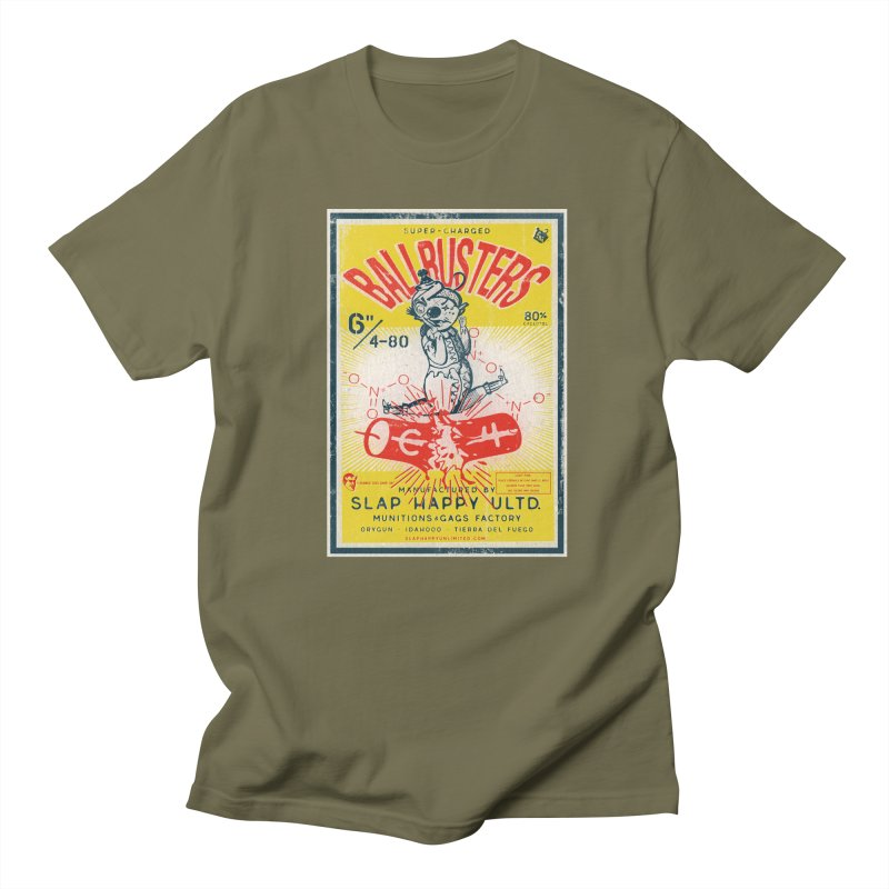 Ball Busters! in Men's Regular T-Shirt Olive by Slap Happy Ultd Emporium