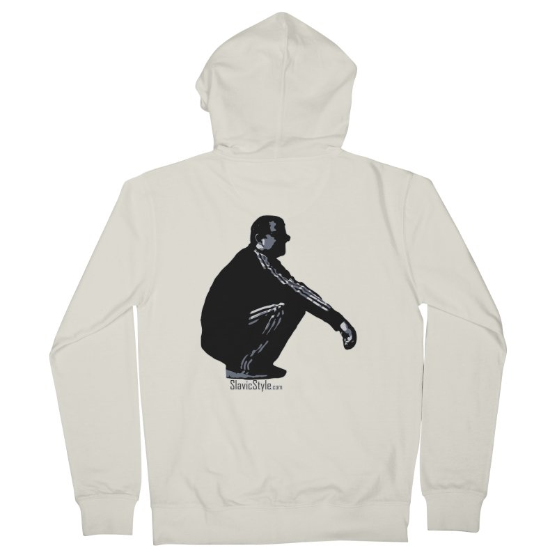 The Slavic Squat (with logo) Men's French Terry Zip-Up Hoody by SlavicStyle