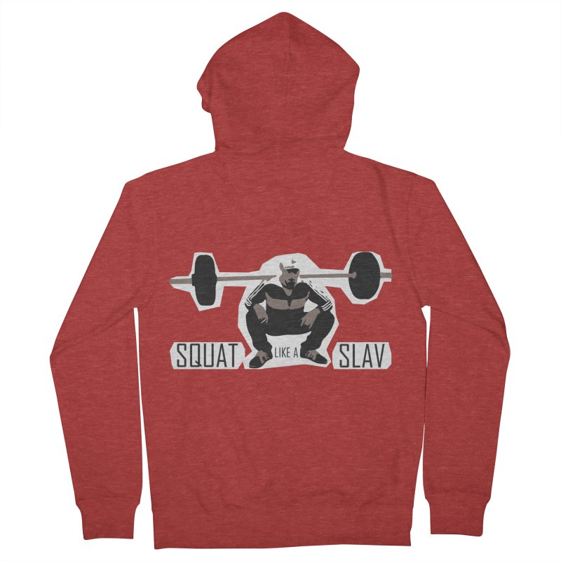 Squat Like a Gym Slav Men's French Terry Zip-Up Hoody by SlavicStyle