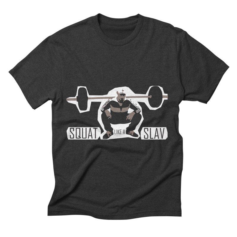 Squat Like a Gym Slav Men's Triblend T-Shirt by SlavicStyle