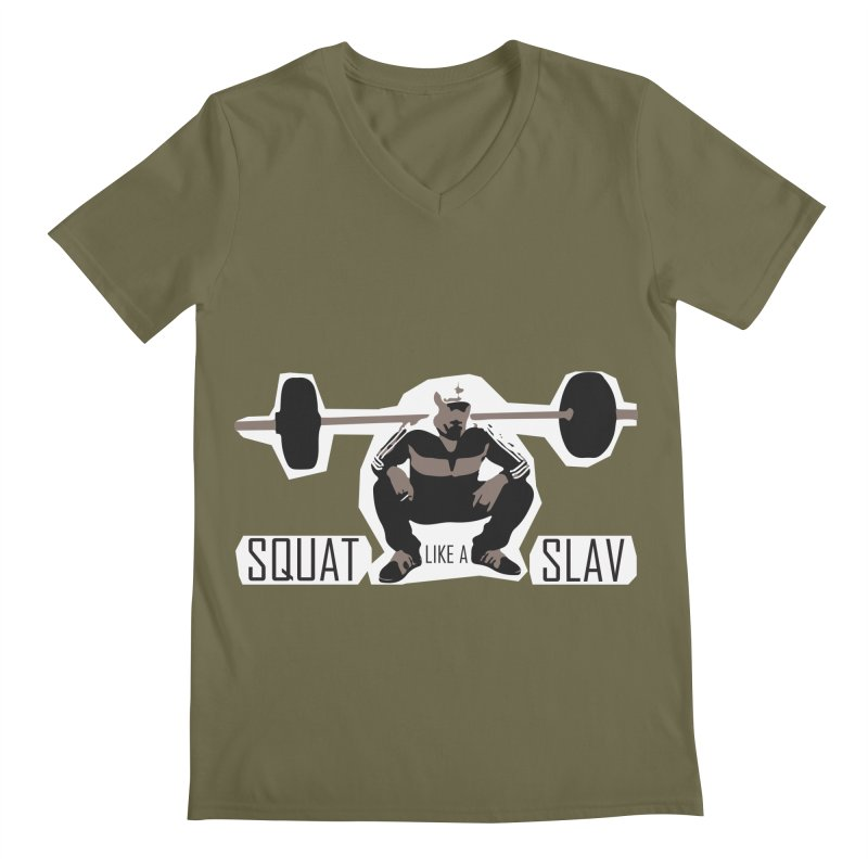 Squat Like a Gym Slav Men's Regular V-Neck by SlavicStyle