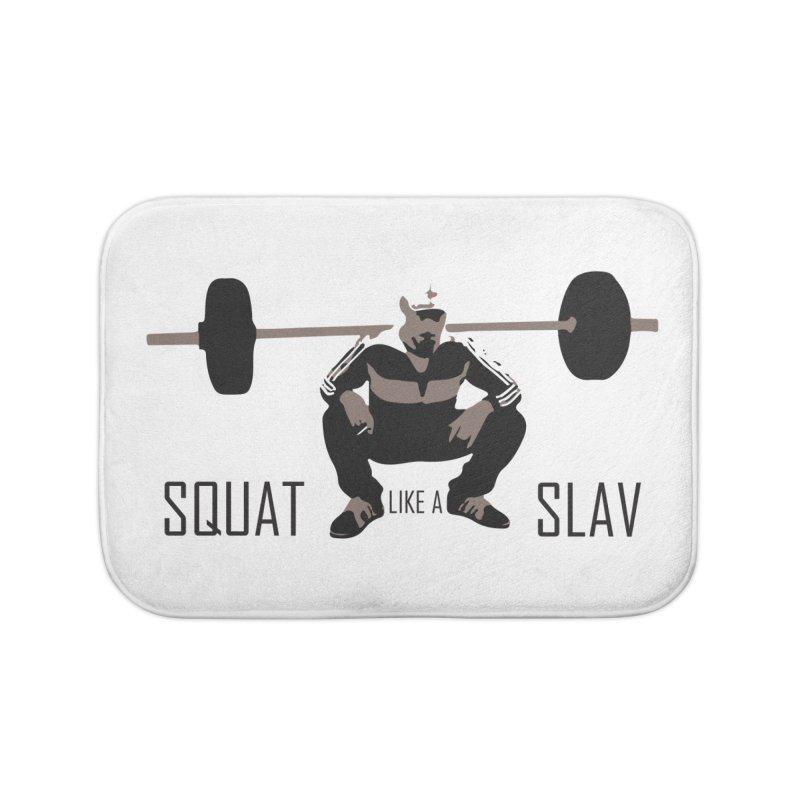 Squat Like a Gym Slav Home Bath Mat by SlavicStyle