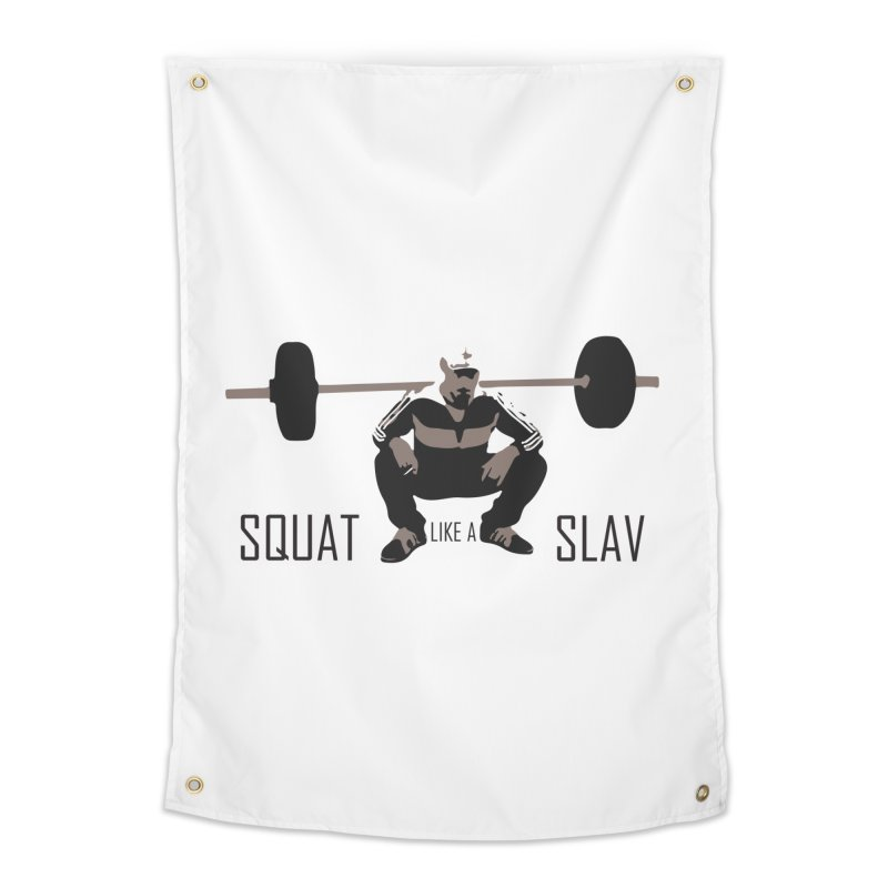 Squat Like a Gym Slav Home Tapestry by SlavicStyle
