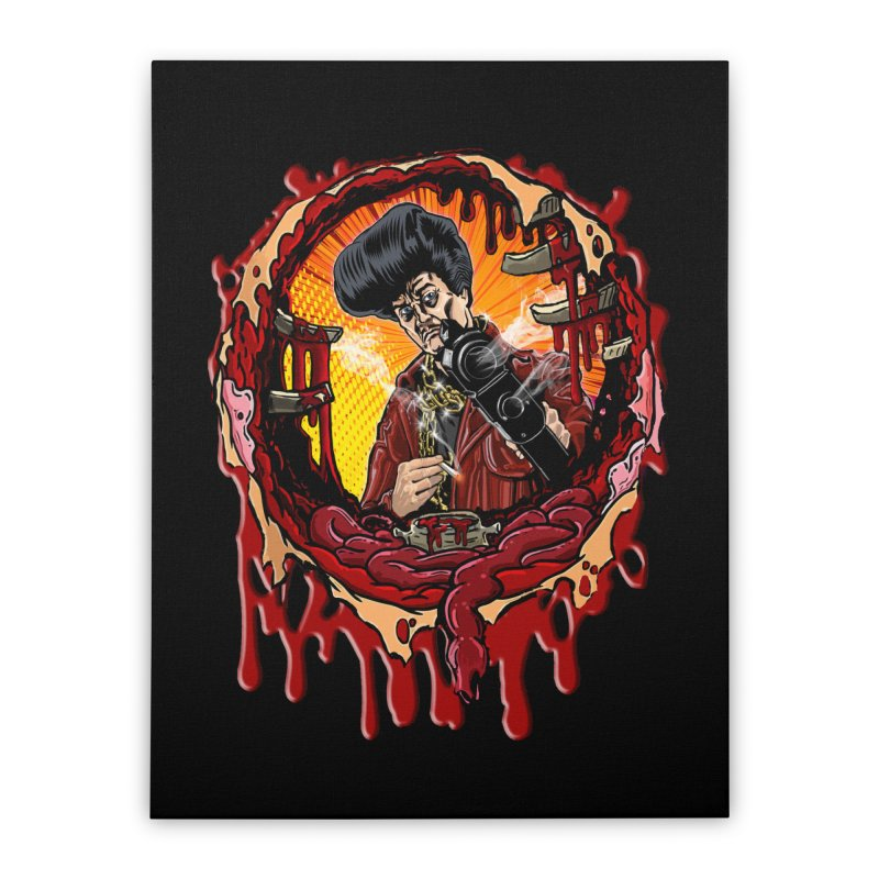 Sleazy Bullet Hole Home Stretched Canvas by sleazy p martini's Artist Shop