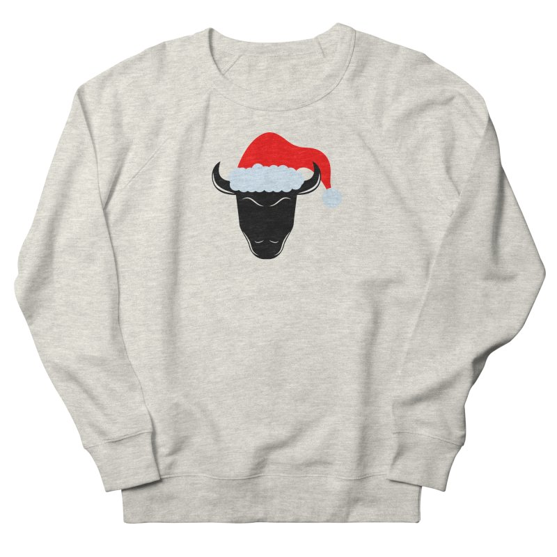Christmas Bison Men's French Terry Sweatshirt by sleekandmodern's Artist Shop