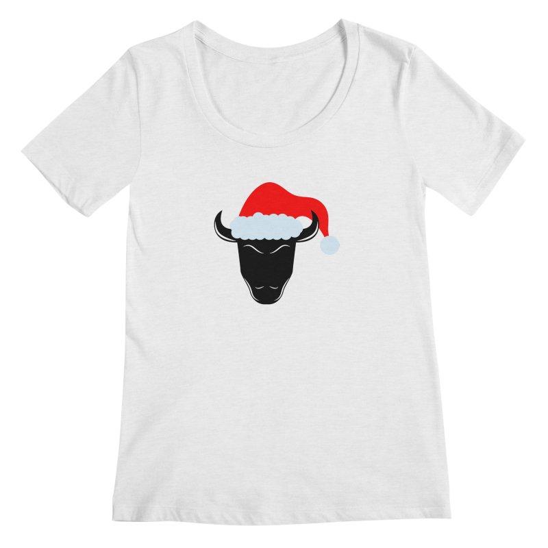 Christmas Bison Women's Regular Scoop Neck by sleekandmodern's Artist Shop
