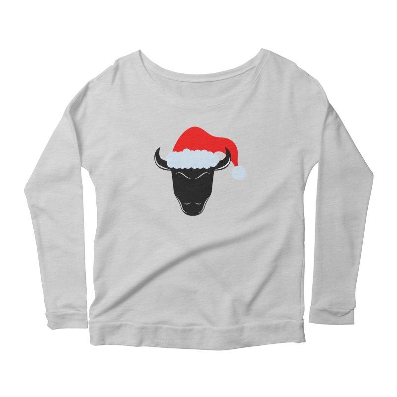 Christmas Bison Women's Scoop Neck Longsleeve T-Shirt by sleekandmodern's Artist Shop