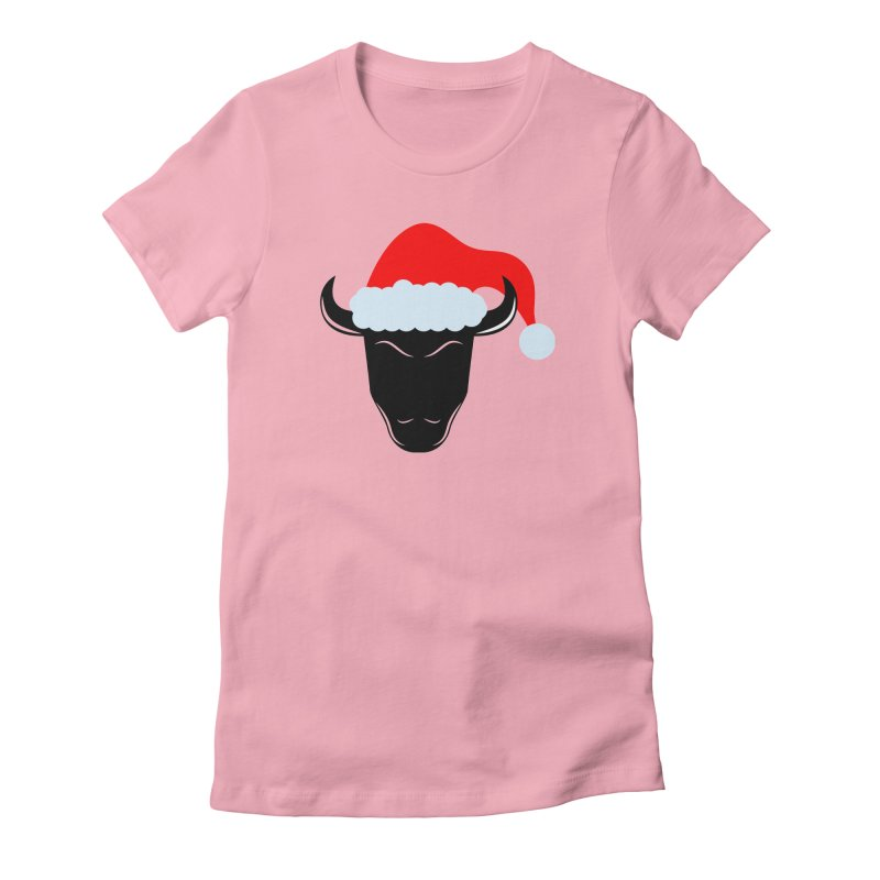 Christmas Bison Women's Fitted T-Shirt by sleekandmodern's Artist Shop