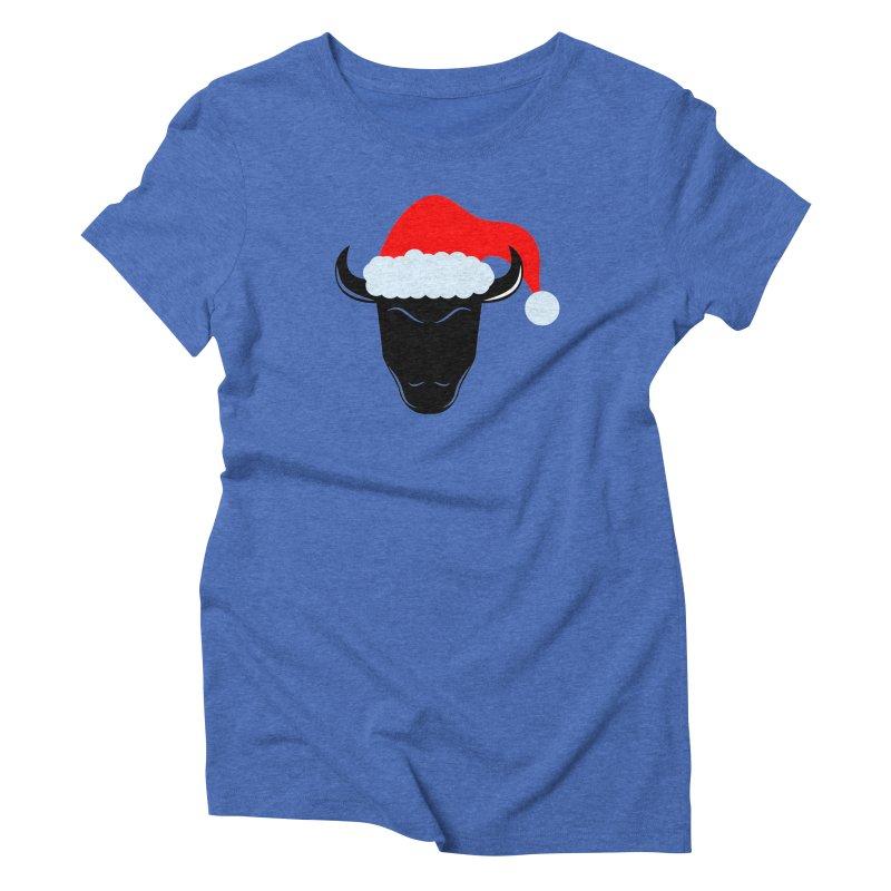 Christmas Bison Women's Triblend T-Shirt by sleekandmodern's Artist Shop