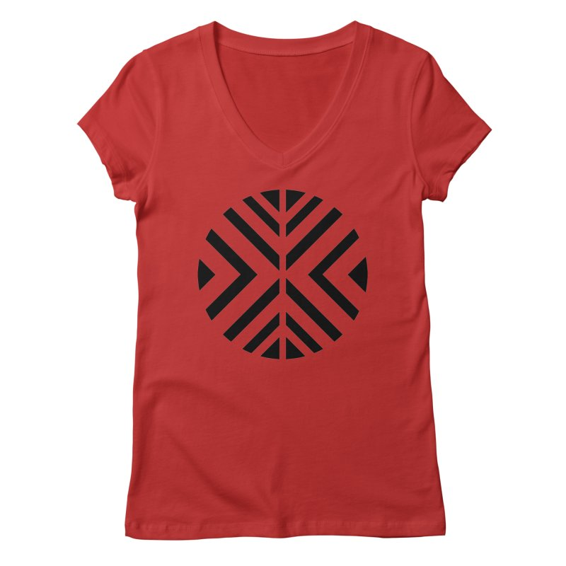 Black Circle X Women's Regular V-Neck by sleekandmodern's Artist Shop