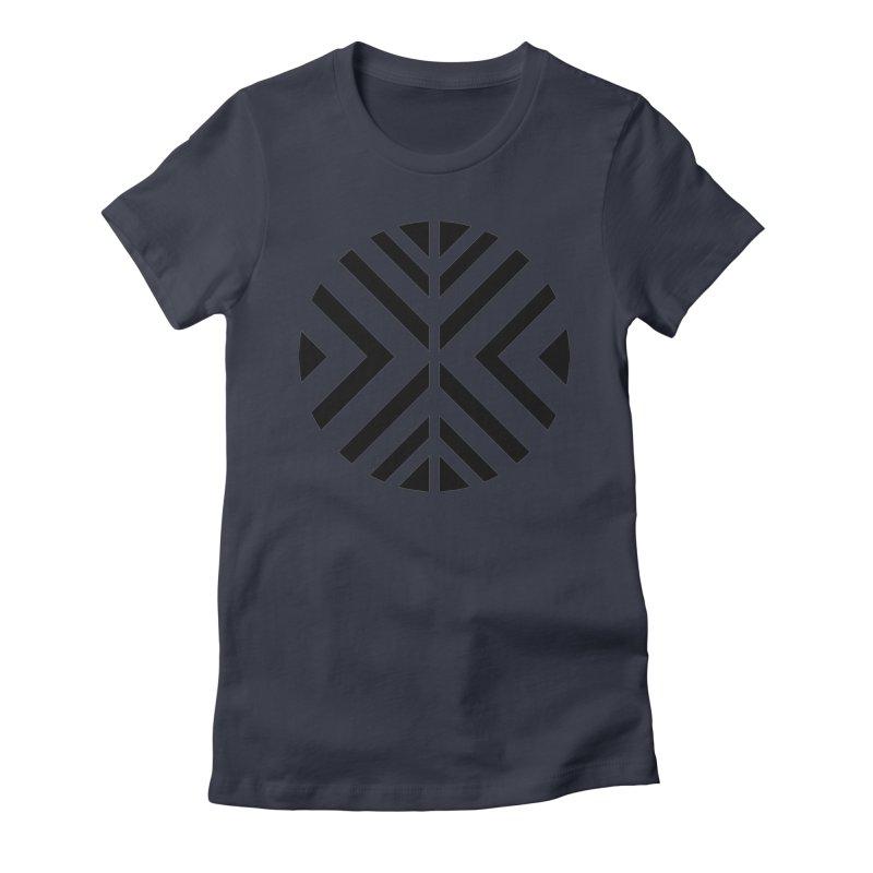 Black Circle X Women's Fitted T-Shirt by sleekandmodern's Artist Shop